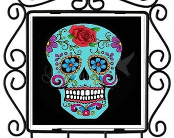 Dia de los Muertos-Sugar Skull - Ceramic Tile Metal Key Holder (SSKHL2) Ready to Ship