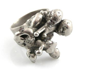 BIG Vintage 1960s 70s Pal KEPENYES Mexico Silvered Bronze Brutalist RING Size 6
