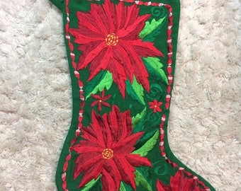 SUMMER SALE Needlepoint Embroidered Christmas Stocking Poinsettia Design Xmas Holiday Stocking Standard Size