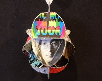 Beatles Ornament Made Of Album Covers Record Jackets Lennon McCartney Starr Harrison