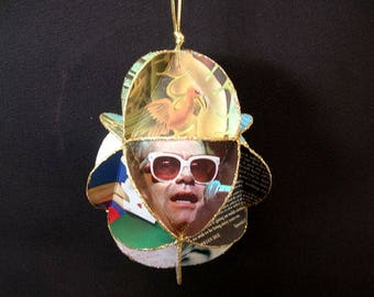 Elton John Album Cover Ornament Made Of Repurposed Record Jackets