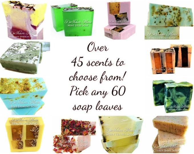 SALE SOAP - 60 assorted 3LB Handmade Soap Loaves, Wholesale Soap Loaves, Vegan Soap, Soap Gifts, Wedding favors, Shower Favors, Christmas Gi