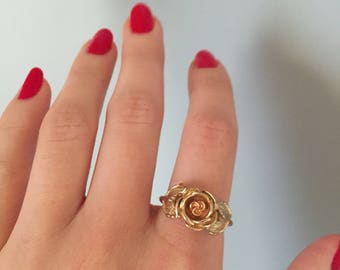 gold rose ring / delicate costume rose and petals ring / adjustable rose flower ring / size 6.5