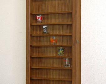 Walnut Shot Glass Display Cabinet-Walnut Hardwood-No Door