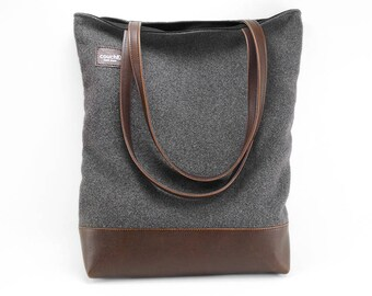 Charcoal Wool and Vegan Leather Tote Bag
