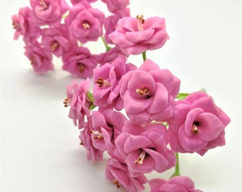 Miniature Polymer Clay Flowers Eternity Pink Roses, set of 20 stems