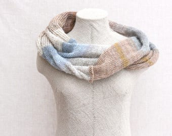 Bohemian autumn scarf / Beige blue evening shawl / Chunky scarf for fall / mohair shawl / Fall loop scarf / Mobius cowl - Winter Woods Walk