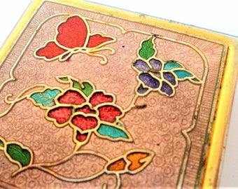 Cloisonne Enamel Pill Box... Pink Flower Butterfly... c.1980s