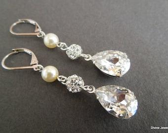 Bridal Earrings, pearl Rhinestone earrings, Wedding Earrings, Chandeliers Earrings, swarovski pearl earrings, statement earrings, MISTY