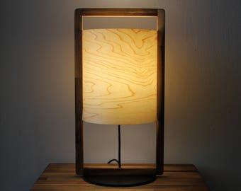 Real Wood Table Lamp - Modern design in Maple Veneer & Steel Base - Accent or Mood Lighting Lampshade