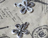 20 pcs Antique silver Flower Charms Connector pendant, charm Metal flower Earring Components ,earring Pendant charm,jewelry pendant finding
