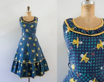 1950s Festival Of Crows novelty cotton dress / 50s scarecrows