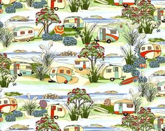 Camper Fabric/Retro Shasta Camper Fabric/Nutex of New Zealand/Hot Diggity Dog Fabric/Craft Supplies & Tools/Fabrics and Notions/Fabric