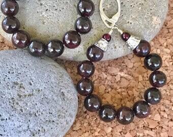 Red Garnet Bead Hoop Earrings