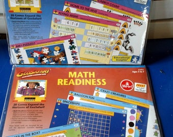 Vintage Set of 2 Complete MATH Geo Safari Sets Beginning Math and Math Readiness Ages 3 to 7 1997