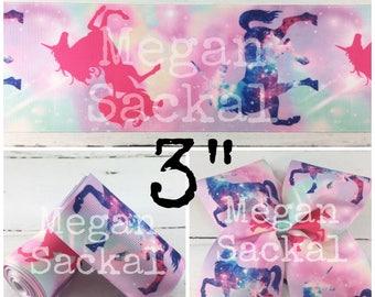 "3yd- 3"" Ribbon, Cheer Bow Ribbon, Unicorn Galaxy Print Ribbon"