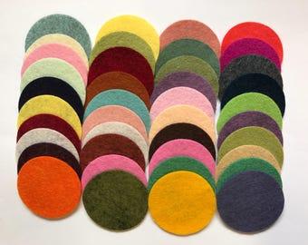 Wool Felt Circles Die Cut 40 - 1.75 inch Random Colored 4049 - felted circle - circle die cut - headband supplies - Merino Felt - Hair Clip