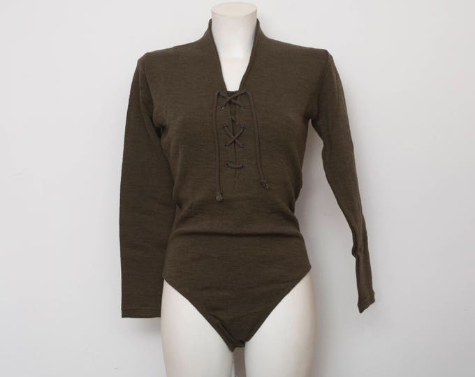 NOS vintage 90s greeny brown bodysuit top long sleeve size  S