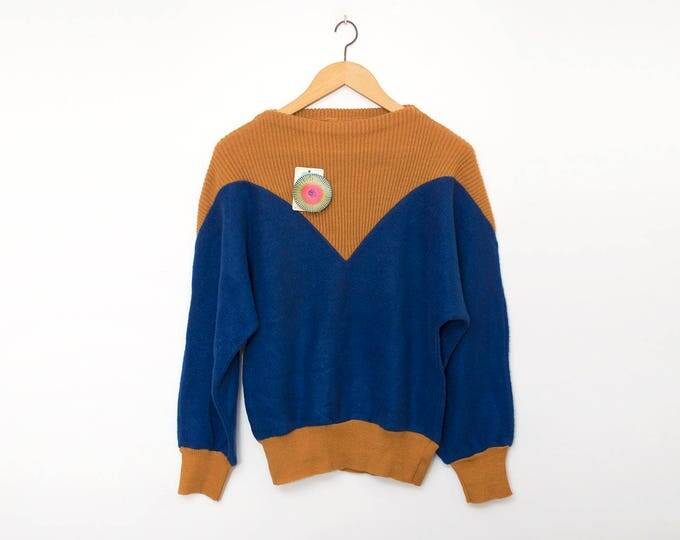 Vintage 80s blue and orange sweater deadstock