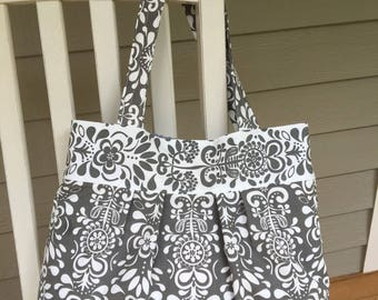 Gray and White Shoulder Handbag