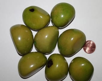 8 Lime Green, Tagua Nuts Beads, Drilled, EcoBeads, Organic Beads, Vegetable Ivory 6