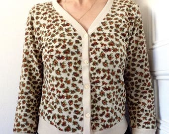 des années 1960 la petite cardigan coton prairie cuivre floral Sz S