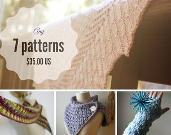 Knitting Patterns / Pattern Bundle / Choose Seven Patterns (Your Choice) / PDF Digital Delivery