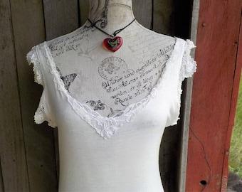 white slip - night gown - vintage lace  - romantic slip dress- M