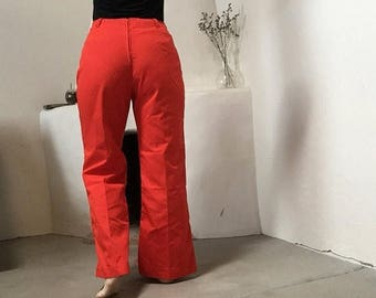 final 2017 MASSIVE SALE Red Bell Bottoms | 70s vintage cherry red flared ultra high waist cream detail gold metal zipper hippie psychedelic