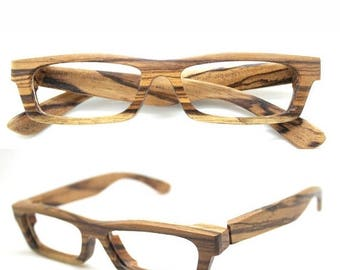20% off SUMMER SALE LOVE-Wood zebra wood Takemoto eyeglasses glasses frame with prescription lenses