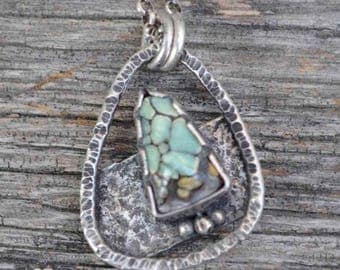 Turquoise Necklace, Raw Sterling, Variscite, Pendant, Metalsmith Jewelry