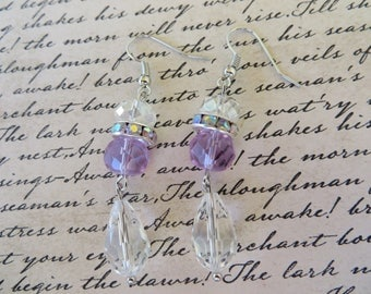 Clear and Lavendar Crystal and Rhinestone Dangling Earrings