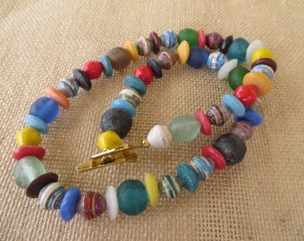Colorful Ghana Glass And Uganda Paper Beaded Necklace