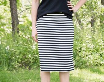 Black and White Stripe Pencil Skirt