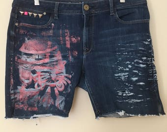 Rabbicat Jean Cut Off Shorts, Upcycled, Hand Printed and distressed