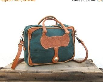 SALE SALE Vintage Satchel Weaver Wear Forest Green Southwestern Tooled Leather Tote Bag