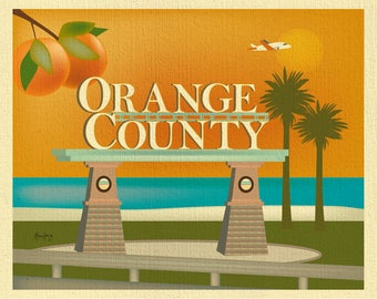 Orange County Skyline Print, Orange County California art, Orange County Canvas, Orange County Art, California art, style E8-O-ORA