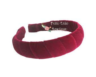 Red Scarlet Velvet Headband/Dark Red Headband/Cute Headbands/Hard Headbands/Padded Headband/Head Band/Winter Headband/Girls Headband