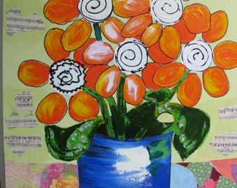 Original Flower Painting/Folk Art/Folk Art Painting/Painting/Flowers/Abstract/Mixed Media