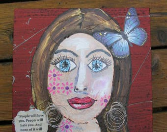 Contemporary Folk Art Painting Woman Mixed Media on Canvas