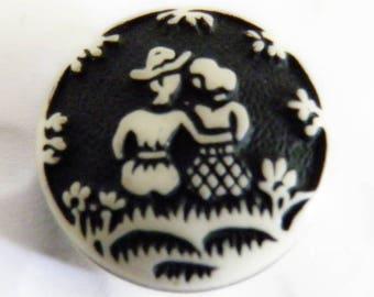 Buffed Celluloid Button Couple on Grass