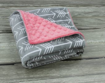 Arrow Minky Baby Blanket, Gender Neutral Baby Blanket, Soft Double Sided Minky Blanket, Modern Arrow Blanket