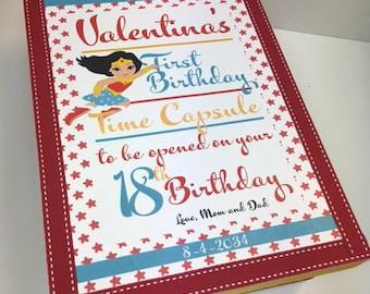 Supergirl Theme 1st Birthday Time Capusule Keepsake box