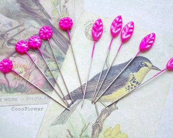 10 Decorative Pins Leaf Flower corsage head pin Seamstress Gift Sewing Quilting - 6 colors