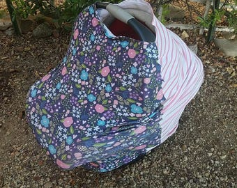 Baby Car Seat Canopy - Stretchy Car Seat Cover - Nursing Poncho - Pink Navy Floral Baby Cover - Baby Shower Gift - Multi Purpose Baby Cover