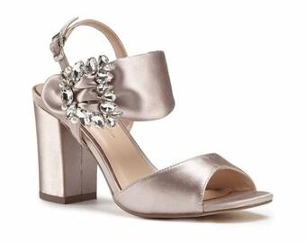 Wedding Shoes - Bridal Shoes - Crystal Embellished Wedding Shoes - Crystals - Taupe Wedding Shoes - Custom Women's Wedding Shoes  High Heels