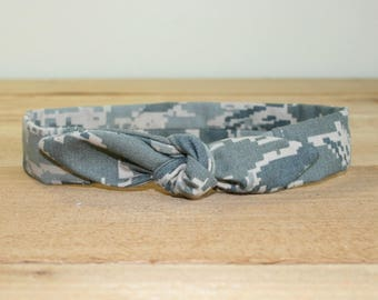 ABU Air Force Baby Headband with Tie Hairbow Military Tiger Stripe Camo
