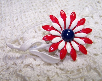 Vintage Red White and Blue Enamel Daisy Flower Brooch Jewelry Large VTG Pin U.S.A.