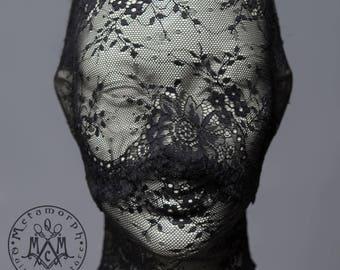 Black lace head mask / Full face lace mask / Pseudo blindfold lace hood / Fetish lace mask / Lace zentai mask / Masquerade lace veil / Bdsm