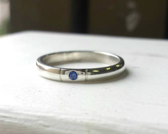 Minimalist Sapphire Ring - Simple Silver Band Ring - Lab Created Sapphire Engagement Ring, Birthstone Stacking Ring, Flush Set